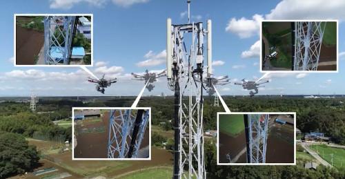 鉄塔周囲を飛行しながら空撮するドローン