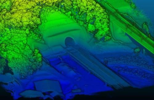 「Terra Lidar」搭載のドローンで取得した点群データのイメージ