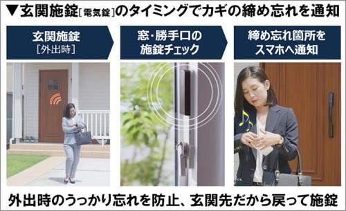 「ミモット」の使用イメージ。施錠してないカギがあれば、玄関ドアのカギを閉めた直後にスマホに通知してくれる