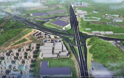Chongqing City Construction Development(重慶都市建築開発)、Chongqing Municipal Research  Institute of Design(重慶市設計研究機構)、Chongqing City Construction Investment (Group)(重慶都市建設投資(グループ))による中国、重慶市のParallel Line of the Fourth Diversion Expressway