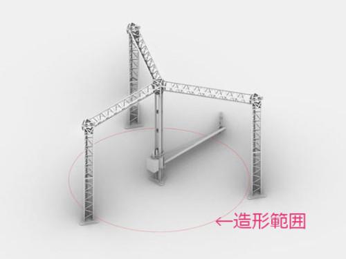 クレーン型3Dプリンターの造形範囲。周囲に設置された3本の柱の外まで造形できる