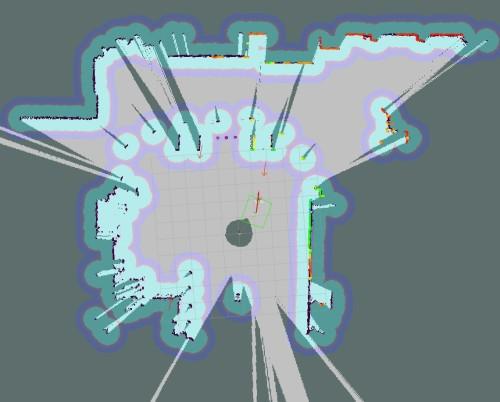 レーザーセンサーによって認識した周囲の障害物など