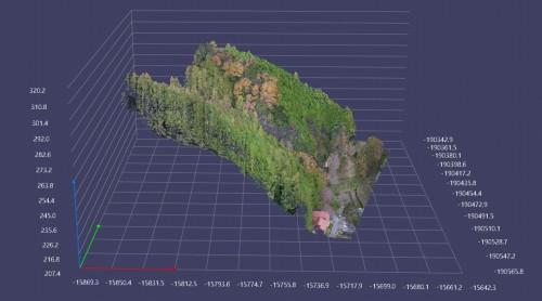 空中からのレーザー計測によって得られた点群データ