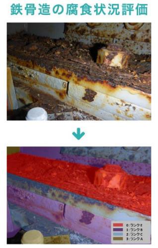 鉄骨部材と腐食ランクを色分け表示した教師データ
