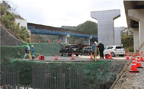 2018年12月12日に計測した仁摩インター橋P1橋脚の場所杭の施工現場(写真:カナツ技建工業)
