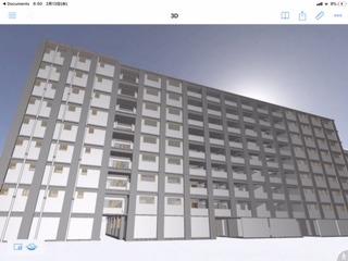 軍艦島日給住宅のBIMモデル。表側から見たところ