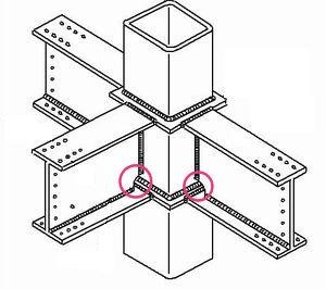 従来は下フランジを上から溶接するため「スカラップ」(円内)という切り欠きが必要だった