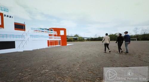 建設予定地を実際に歩き回りながらウォークスルーするイメージ