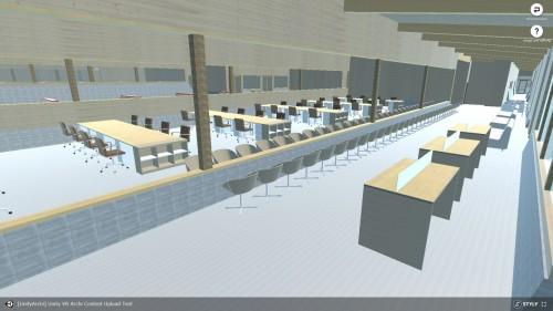 建物の内部に入ったところ。庁舎内の机やカウンターなども作られていた