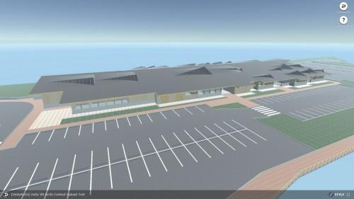 建物の外観。広大な駐車場も併設されていた
