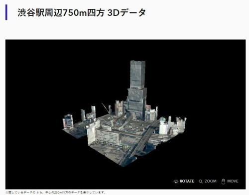 地上部の点群データ。中心にそびえるのは渋谷ヒカリエの超高層ビル