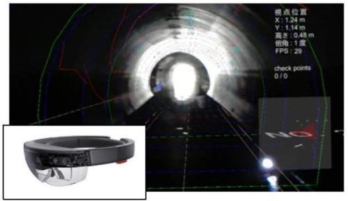 MRゴーグルの「Microsoft HoloLens」に補修履歴を入れて、トンネル内部と重ねて見られるトンネル・メンテナンス・ナビゲーションシステム「MOLE-FMR」