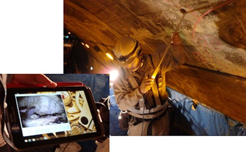 トンネル覆工裏側の空洞調査をタブレットPCに搭載した「ジェネシス-LTR」に記録しているところ