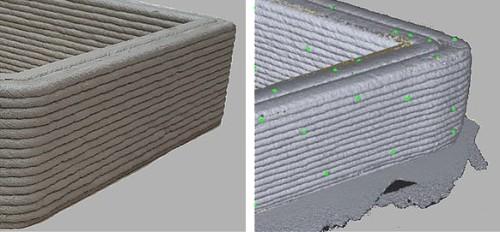3Dプリンターで造形した壁(左)を、3Dレーザースキャナーで点群化したもの(右)