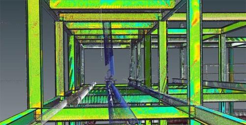 「BuildIT Construction」で行った鉄骨の出来形管理。BIMモデルと実物の誤差が、色分けした「ヒートマップ」によって一目でわかる(以下の資料:FARO)