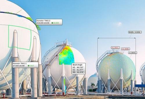 球形タンクのような曲線が多い構造物の出来形管理も楽に行える