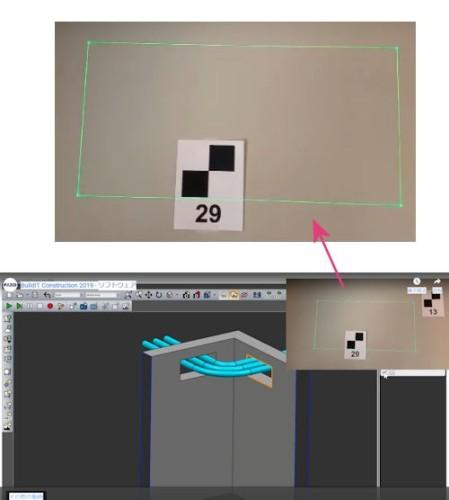 BIMモデルとレーザープロジェクターを使って、現場で「墨出し」を行った例