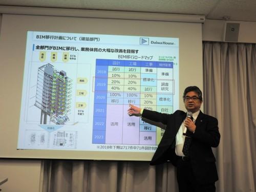「BIM移行計画」について説明する大和ハウス工業 技術本部 BIM推進部次長の伊藤久晴氏