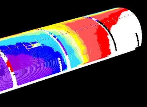 トンネル内壁を計測した3D点群データの例。内壁の変位量を色分けしたヒートマップで表現したもの