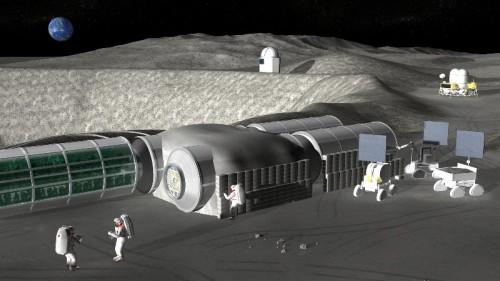 月面で行われる宇宙基地建設工事のイメージ(資料:JAXA)