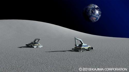 (1)宇宙基地建設の流れ。まずは月面を整地する(以下の資料、写真:鹿島)