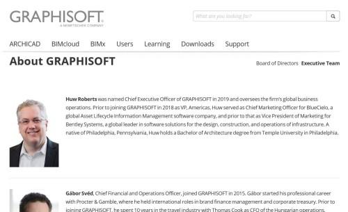 グラフィソフト社の次期CEOに任命されたヒュー・ロバーツ氏(資料:Graphisoft社のウェブサイトより)