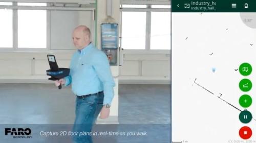 スキャナーを持って歩き回るとスマホの画面に部屋の見取り図ができてくる