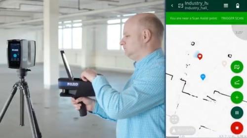 3Dスキャナーを据え付ける場所まで誘導・レーザーポインターによる墨出しする機能も