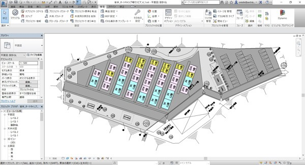 応急仮設住宅の配置計画案の自動作成操作画面。BIMソフト「Revit」を利用している(以下の資料:大和ハウス工業)