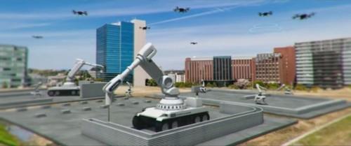 ドローンによる施工管理のもと、自走式の3Dプリンターで建物を施工するイメージ