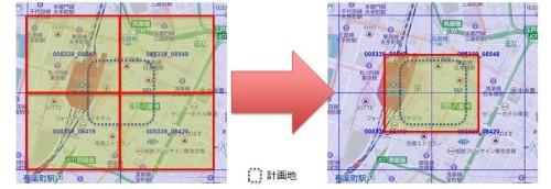 従来は敷地の位置によって4ブロック必要だった場合もあった(左)が、新サービスでは任意の範囲をピンポイントで指定して購入できる