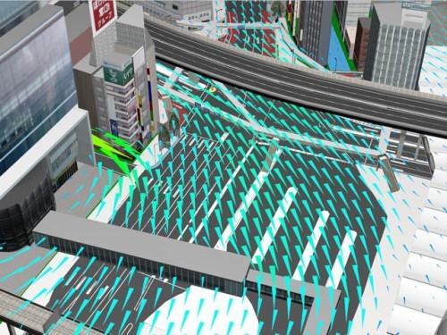 熱流体解析ソフトによる風シミュレーションを都市モデル上に表示した例
