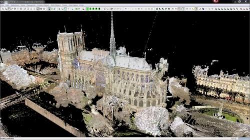ライカ・ジオシステムズが計測したノートルダム大聖堂の点群データ(以下の資料:Leica Geosystems ADのYouTube映像より)