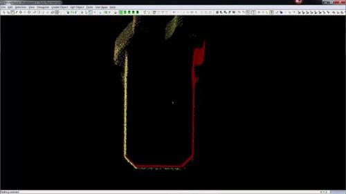 点群の断面を見たところ。3カ所から計測された赤、黄、紫の点群が非常に精度よく重なっていることがわかる
