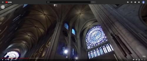 ノートルダム大聖堂の内部を撮影した360度VR映像(資料:TARGOのYouTube動画より)