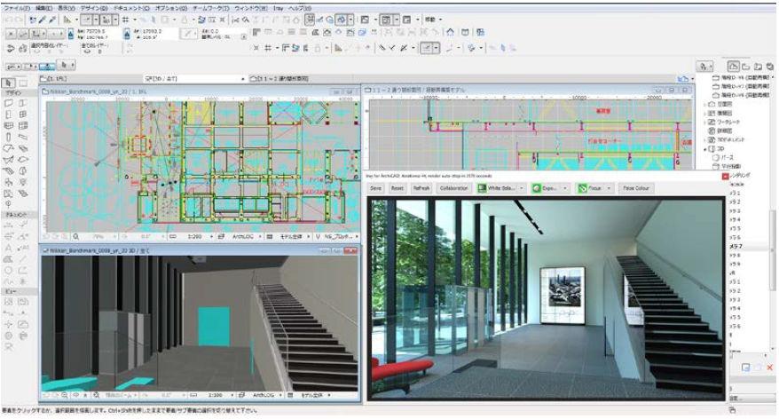 ARCHICADにBIMオブジェクトを読み込み、レンダリングした例。題材は日建設計本社ビルの入り口ロビー付近(以下の資料:丸紅)