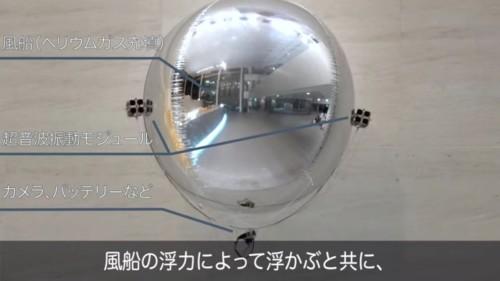 気球形のドローン側面には、推力を発生する超音波振動モジュールが左右に搭載されている