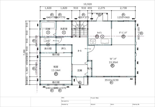 平面図。壁芯、管柱・間柱・通し柱などの各種柱が自動で生成できる