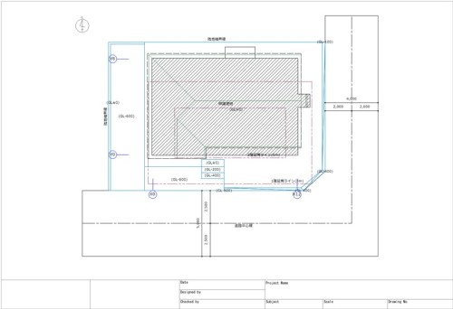 配置図。敷地の形状、道路の幅や位置、敷地に対する建物の位置などを出力する
