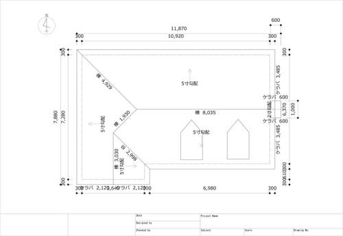 屋根伏図。すべての階、または任意の階を指定して屋根伏図を出力できる