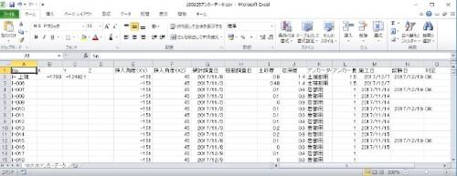 アンカーの施工実績データを整理したExcelデータ。これを読み取ってCIMモデル化する