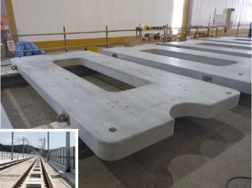 三田川PC工場で製造されている九州新幹線用の軌道スラブ