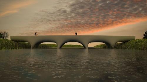 オランダ・ナイメーヘンに建設される世界最長の3Dプリント橋の完成予想図(以下の資料:Michiel van der KleyのVimeo動画より)