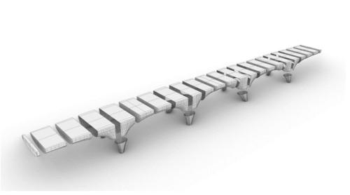 橋は30のパーツに分けて造形し、緊張ケーブルによって結合する