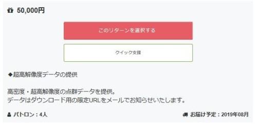 5万円の支援者には、高密度・超高解像度の点群データが贈られる