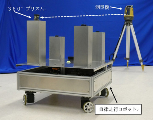 BIMモデル上で移動指示を行い、LN-100(後方)と連携して自律走行するロボット(以下の写真、資料:安藤ハザマ)
