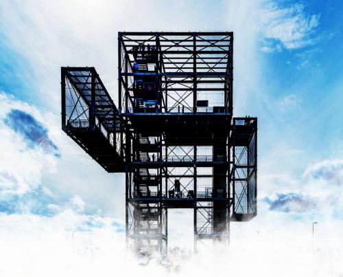 3Dプリンター技術を使って、都心にタワーマンションを建設する「無人巨大建築ロボット」のイメージ図
