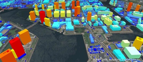 50cmメッシュのデジタル3D地図「AW3D日本全国高精細3D地図」で提供される建物3Dデータ。建物1棟ずつの形と高さがデジタル化されている(資料:NTTデータ)