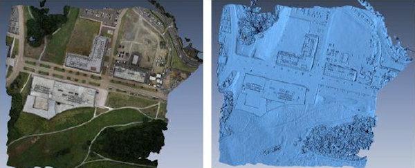 地表の撮影写真(左)から自動生成した3Dモデル(右)(資料:凸版印刷)