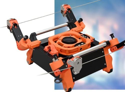 構造物の写真撮影に使われるロープウエー型ロボット「Rope Stroller」(写真:イクシス)